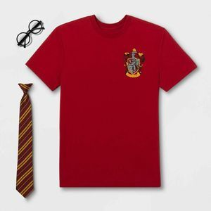 Harry Potter Costume Red T Shirt Glasses Tie 2XL